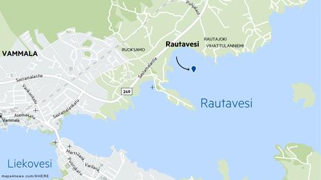 Onnettomuus sattui Vanhankirkonniemen ja Vihattulanniemen välisellä alueella.