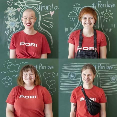 Iloisia kesäkasvoja Porin kesässä. Ylärivissä vasemmalta Vilhelmiina Saine ja Anni Nuotio, alarivissä Erika Vastamäki ja Miko Vahekoski.