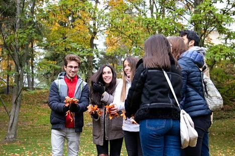 Espanjalaiset Christian Escribano, Maria Paula Parrado, Alexandra Rodríguez ja Carmen Bernabeu (selin) sekä saksalainen Dorothea Wenderoth ja meksikolainen Juan Pablo Rubio katselivat kahvien kanssa Näsinpuistoa ja pysähtyivät ottamaan kuvia.