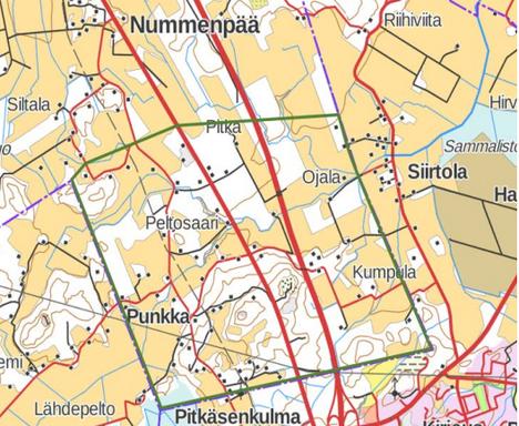 Kaava-alue on merkitty kuvaan vihreällä viivalla.