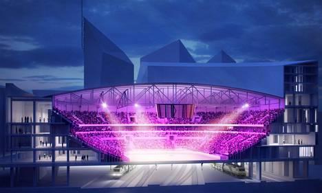 Havainnekuva näyttää, miten yleisö asettuu Tampereen uudelle 15000-paikkaiselle areenalle.