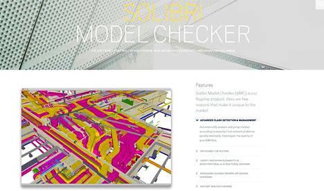 Kuvakaappaus Solibrin nettisivuilta. Yrityksen tuote tarkastaa rakennusten kolmiulotteisia tietomalleja.