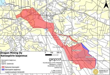 Kaivospiiri halutaan laajentaa sinisellä merkitylle alueelle.