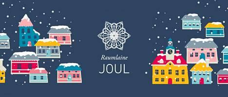 Joulukaupungin tunnuksina ovat pitsinen lumitähti ja Vanhan Rauman rakennukset.