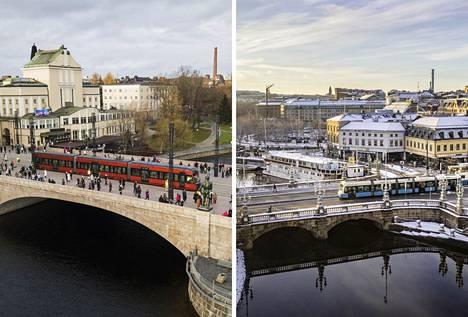 Kuin kaksi marjaa? Vasemmalla Tampereen Hämeensilta ja uusi punainen ratikka. Oikealla Göteborgin keskusta ja sininen ratikka Kungsportsbron-nimisellä sillalla.