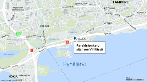Ratakistonkatu sijaitsee Tampereen Villilässä.