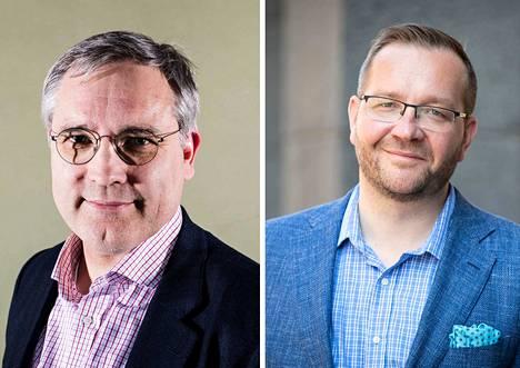 Suomen Yrittäjien toimitusjohtaja Mikael Pentikäinen (vasemmalla) ja Keskuskauppakamarin toimitusjohtaja Juho Romakkaniemi ovat vakuuttuneita, että työntekijät ovat heitä edustavia järjestöjä halukkaampia paikalliseen sopimiseen.