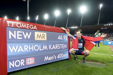 Karsten Warholm kiiruhti kisaennätyksen elokuun lopussa Sveitsin Timanttiliigan osakilpailussa.