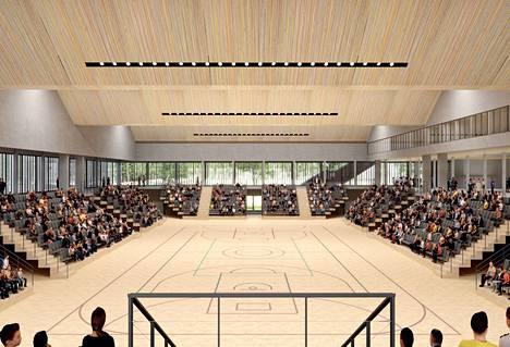 Arkkitehdin näkemys isomäen palloiluhallin sisätiloista. Palloiluhalli näkyy Porin talousarvioissa aina vuoteen 2025.