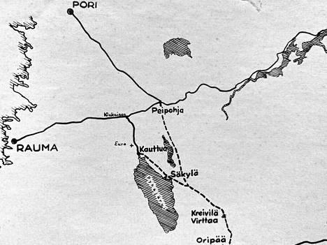Peipohja–Riihimäki-rautatie olisi kulkenut Kokemäeltä Tuomaalan kautta Köyliönjärven itäpuolelle ja edelleen nykyisen Huovinrinteen varuskunta-alueen halki Virttaalle, Alastarolle.