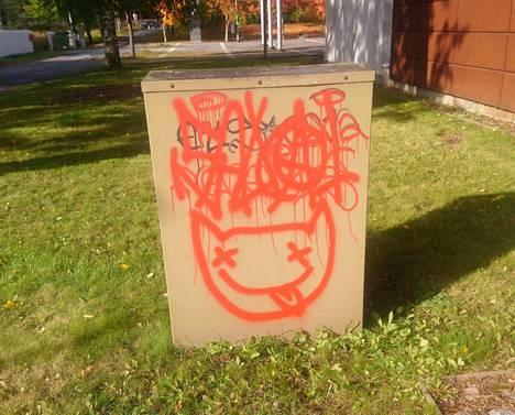 Ympäri  Kankaanpään kaupunkia töherretyt kissagraffitit ovat yleensä  punaisella maalilla spreijattuja.