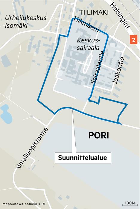 Uusi pysäköintialue sijoittuisi keskussairaalan eteläpuolelle.