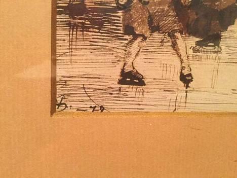 Salmikiven hankkimassa Helene Schjerfbeckin taulussa näkyy osittain taiteilijan signeeraus.