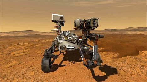 Taiteilijan näkemys Perseverance-mönkjiästä Marsin pinnalla.