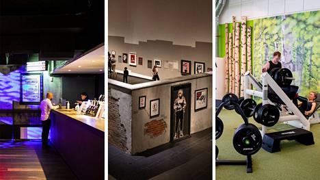 Koronapassi voisi vastaisuudessa vaikuttaa muun muassa yökerhojen, museoiden ja taidenäyttelyiden sekä kuntosalien toimintaan. Ravintola Kaijakan kuva on otettu Tampereella 1. lokakuuta, kun ravintolarajoitukset Pirkanmaalla loppuivat. Serlachiuksen Banksy-näyttely on kuvattu Mäntässä kesäkuussa ja Tampereen Rantaperkiön Liikku-kuntokeskus kuvattiin elokuussa 2020.