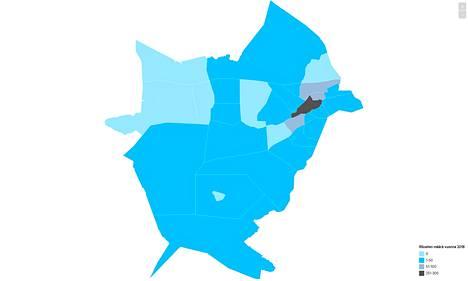 Nokian alueilta poliisin tietoon tulleiden  rikoslakirikosten  (ei liikennerikokset) määrät vuonna 2018. Sama kartta on katsottavissa alempana interaktiivisena versiona.