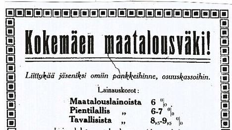 Kokemäellä 1920-luvun loppupuolella toimineiden osuuskassojen mainosuutinen, joka on julkaistu Lalli-lehdessä 23.5.1925.
