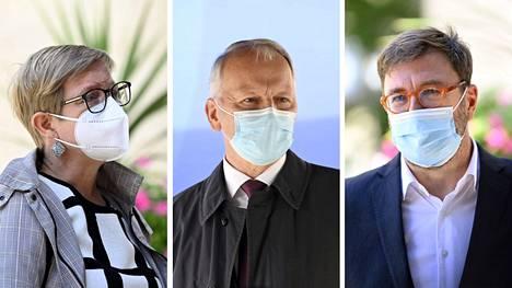 Budjettiriihen ympäristötoimia esittelivät ympäristöministeri Krista Mikkonen, maa- ja metsätalousministeri Jari Leppä ja liikenne- ja viestintäministeri Timo Harakka.