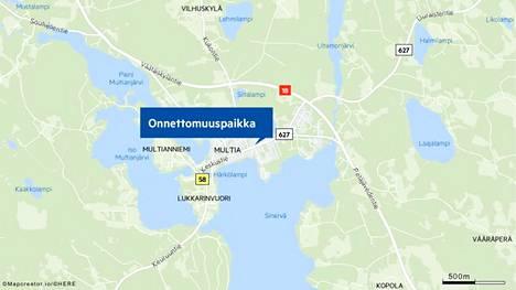 Onnettomuuspaikka on lähellä Multian keskustaa.