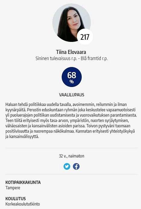 Aamulehden vaalikoneessa Elovaara ilmoittaa, että hänellä on korkeakoulututkinto.