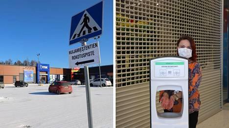 Nokian rokotuspiste sijaitsee Nuijamiestentiellä. Oikealla Nokian vs. hoitotyön johtaja Heidi Leppänen.