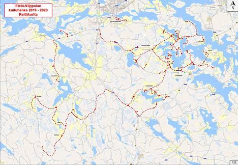 Vilppulan Eteläisten Kylien valokuituhankkeen karttaan on merkitty reitit punaisella.
