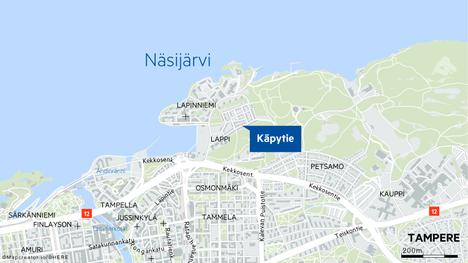 Hälytys keskisuuresta rakennuspalosta tuli Tampereen Käpytielle myöhään torstai-iltana.