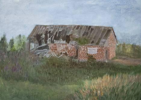 Hylätyt rakennukset kiehtovat taidemaalari Hannele Mathlinia.