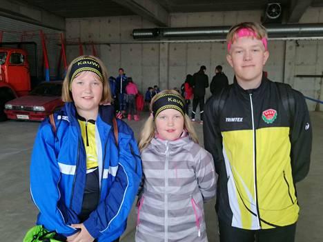 Eveliina, Aada ja Leevi Mutikainen tulivat kisaan edustamaan Kauhavan Wisaa.