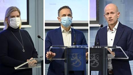 STM:n ja THL:n koronainfossa 30. syyskuuta olivat mukana muun muassa STM:stä johtava asiantuntija Mia Kontio, johtaja Pasi Pohjola ja THL:stä ylilääkäri Otto Helve.