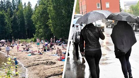 Tiistain lämpö ja aurinko vaihtuvat Pirkanmaalla nopeasti sateiseksi ja koleaksi.
