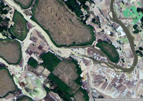 Helmikuun 25. päivän kokoomakuvassa näkyy erityisen selvästi Loimijoen vaikutus Kokemäenjokeen. Kaakon suunnasta tuleva Loimijoki värjää suuremman virran savisen harmaaksi yhtymäkohdasta alavirtaan.