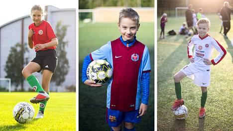 Jessi Hiltunen (vas.), Otto Riiheläinen ja Otto Kiiski ovat kaikki innokkaita jalkapalloilijoita. Lajissa parasta on yhdessä oman joukkueen kanssa pelin rakentaminen ja omien taitojen kartuttaminen.