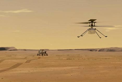 Havainnekuvassa Ingenuity-kopteri ja taustalla Perseverance-mönkijä, johon kiinnitettynä kopteri saapui Marsiin.