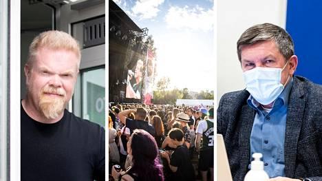 Promoottori Timo Isomäki ja johtajaylilääkäri Juhani Sand kommentoivat Aamulehdelle lauantaina, millaisissa merkeissä Tammerfestia on tähän mennessä vietetty.