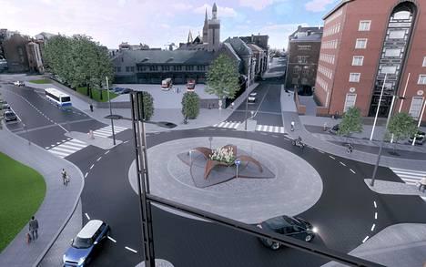 Keskuspaloaseman edustalle sijoittuvan liikenneympyrän keskelle on suunniteltu valaistua taidetta. Havainnekuva ei kerro vielä mitään siitä, millaista taidetta liikenneympyrään lopulta tulee. Taideaiheen muotokieli ja ilme tarkentuvat vasta suunnitelmien edetessä.