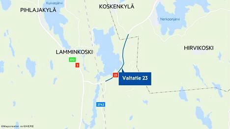 Fintrafficin Tampereen tieliikennekeskuksen mukaan onnettomuus sattui valtatiellä 23 Parkanon Rännärinkankaan ja Kihniön Linnankyläntien välillä.