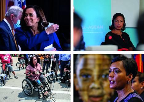 Kamala Harris (vas. ylä), Susan Rice (oik. ylä), Tammy Duckworth (vas. ala) ja Leisha Lance Bottoms (oik. ala) saattavat olla demokraattien presidenttiehdokkaan Joe Bidenin valinta varapresidentiksi.