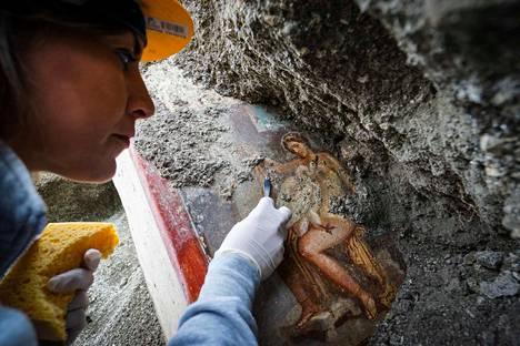 Pompejissa tehdään koko ajan uusiakin löytöjä kaivauksissa, joita on käynnissä kaupungin avatun ja vielä kivi- ja tuhkakerrosten alla olevan osan rajamailla. Viime syksyn helmiä oli 5. kaupunginosan eli Regio V:n alueelta löytynyt fresko Leda ja joutsen. Antiikin tarustossa Leda oli Spartan kuningatar ja joutsen häneen rakastunut ylijumala Zeus.