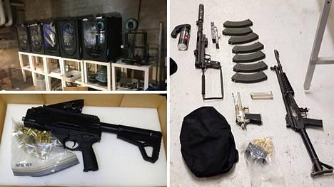 Suomessa yhteisoperaatiossa löydettiin Tampereelta paja, jossa valmistettiin 3D-tulostuksella aseiden osia. Lisäksi löydettiin toimintakuntoisia konepistooleita äänieristetystä tilasta. Oikeanpuoleisessa kuvassa ampuma-aseita, jotka takavarikoitiin 145 kilon kannabistakavarikon yhteydessä.