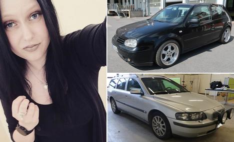 Poliisi pyysi maanantaina havaintoja kahdesta autosta Milla Arosen katoamisviikonlopun ajalta. Ylemmässä kuvassa oleva auto on Milla Arosen oma auto. Milla Aronen on mahdollisesti ollut kyseisenä viikonloppuna alla olevassa kuvassa olevan Volvon kyydissä.