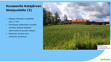 Sitowise Oy:n laatima kuvasovite Kotajärven länsipuolelta: voimalat näkyvät selvästi rakennusten ja puuston takaa. Lähde: Sitowise
