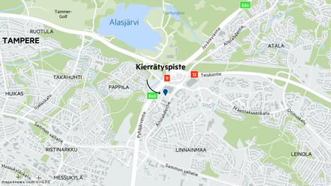 Kierrätyspiste, jonka puristimen epäillään hajonneen, sijaitsee Linnainmaalla osoitteessa Liikekatu 3.