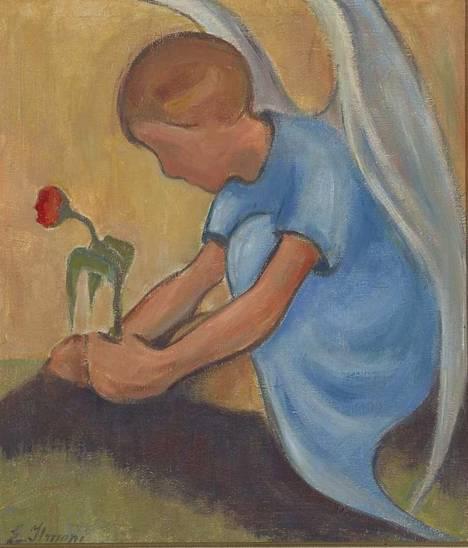 Einar Ilmoni maalasi paljon enkeleitä. Hänen töissään on jotain samaa kuin Helene Schjerfbeckillä.