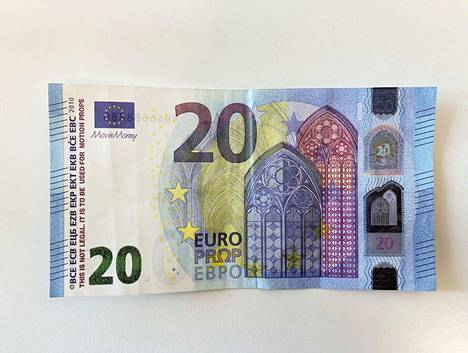 Rahan vasemmassa laidassa on tekstejä, joita ei oikeista seteleistä löydy.