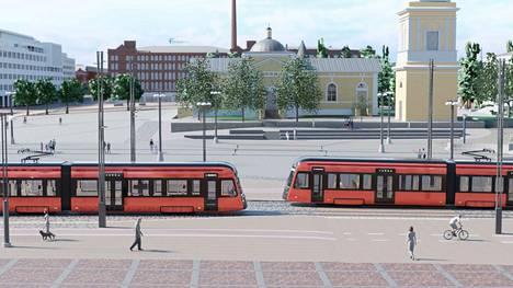 Havainnekuva näyttää, miten ratikat tulevaisuudessa kulkevat Tampereen keskustassa. Ensimmäinen Tampereen ratikka tuodaan Hervannan varikolle viikonloppuna ja toinen ensi syksynä.