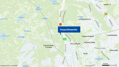 Öljyonnettomuus sattui Varpurämeentiellä Tampereen Myllypurossa.