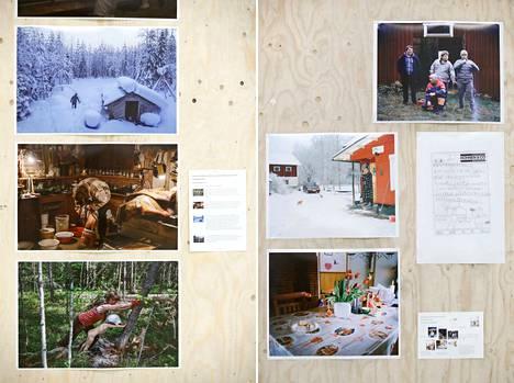 Kuvajournalismin parhaimmisto on esillä Samk-kampuksella. Vasemmalla kuvia Touko Hujasen Metsäperhe-sarjasta ja oikealla Joonas Vohlakarin Toinen perhe -sarjasta.
