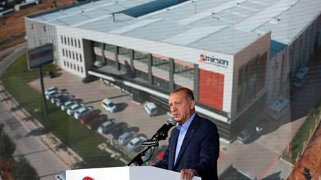 Turkin presidentti Recep Tayyip Erdogan puhui kannattajilleen lauantaina 23. lokakuuta.