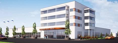 WasaGroupin havainnekuvasta näkyy, millainen tuleva rakennus voisi olla. Varsinaiset suunnitelmat tehdään vasta, kun hankkeen toteutuminen varmistuu.